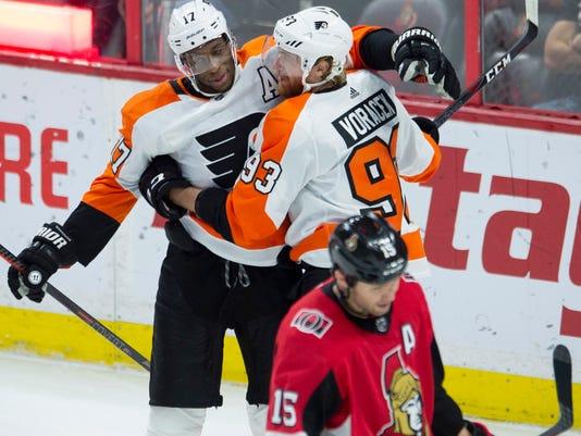 online store c508f b969b Jakub Voracek, Scott Laughton score 2 apiece, Flyers beat ...