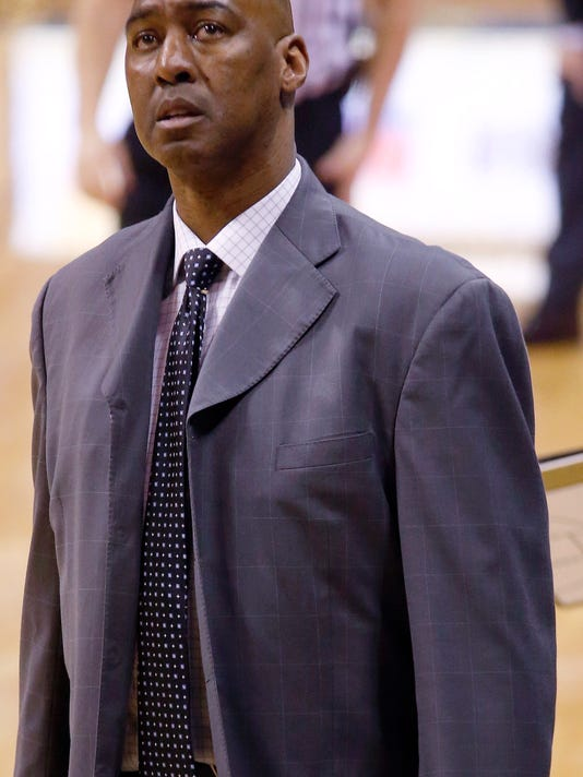 Wake Forest head coach Danny Manning looks to the scoreboard during the second overtime of an NCAA college basketball game against Pittsburgh, Tuesday, Feb. 16, 2016, in Pittsburgh. Pittsburgh won 101-96 in double overtime. (AP Photo/Keith Srakocic)