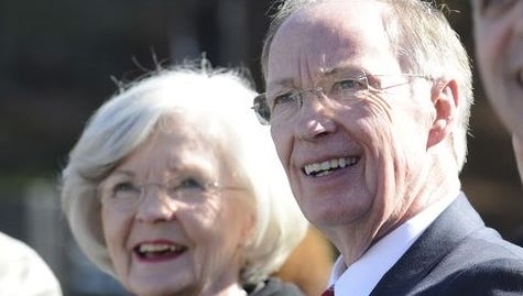 Gov. Robert Bentley and First Lady Dianne Bentley attend the inauguration on Jan. 19, 2015. Dianne Bentley filed for divorce from Robert Bentley Friday, citing a breakdown in their marriage.