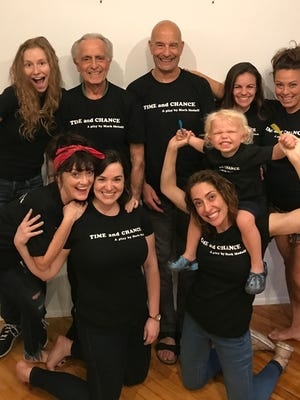 "Mark Medoff, back row, second from left, with the cast and crew for ""Time and Chance"" in New York City in the summer of 2017. Back row from left, Abigail Wahl, actor; Bob Steinberg, set designer/dramaturg; Emma Grimsley, actor; and Jessica Medoff, assistant director. Front row from left, Morgana Shaw, actor; Alicia Thompson, stage manager; Lena Georgas, actor; and Henry Bunchman, Medoff's grandson."