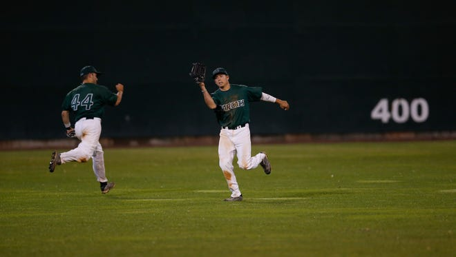 Binghamton University all-conference outfielder Bill Bereszniewicz makes a catch during the America East Conference tournament against Stony Brook.