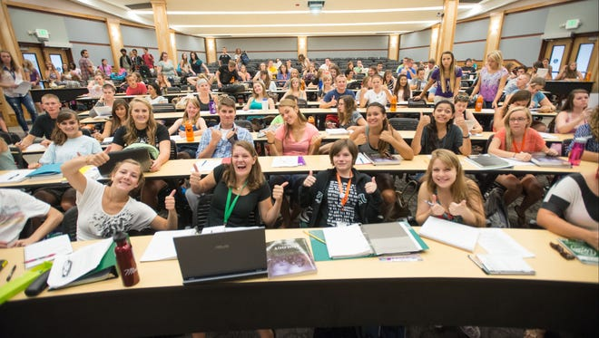 CSU Students make their way to the Clark Building for the first day of classes. August 26, 2013