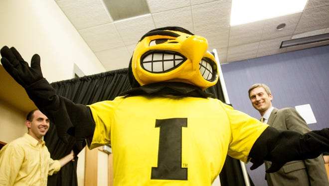 A new Herky The Hawk costume was presented along with the unveiling of the new statues for Herky on Parade at the Iowa City Public Library in Iowa City, IA on May 5, 2014.
