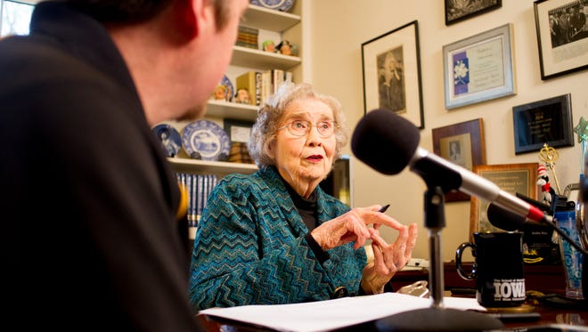 Radio host Dottie Ray speaks with producer Jay Capron on KXIC radio for the final installment of the Dotti Ray Show at Ray's home on Monday, May 13, 2014. Over 55 years, Ray has broadcasted 14, 444 shows and interviewed 32, 397 people.