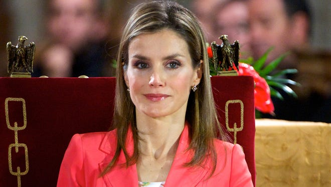 """Princess Letizia of Spain appears for the first time since the announcement of King Juan Carlos of Spain abdication as they attend the """"Prince de Viana"""" award 2014 at the San Salvador de Leyre Monastery on June 4, 2014 in Navarra, Spain."""