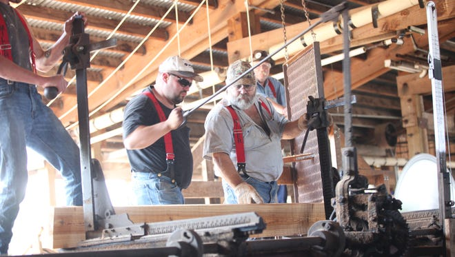 See the steam-powered sawmill in action at Antique Powerland in Brooks.