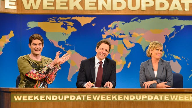 Stefon (Bill Hader) and Amy Poehler returned to the 'Weekend Update' desk to give outgoing anchor Seth Meyers a proper sendoff.