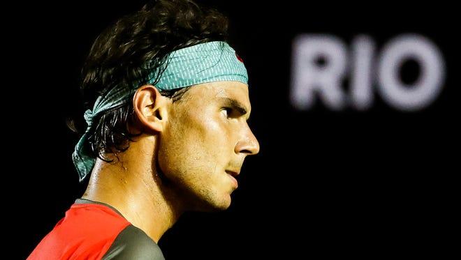 Rafael Nadal of Spain celebrates the match point against Daniel Gimeno-Traver of Spain during the ATP Rio Open 2014 at Jockey Club Rio de Janeiro.