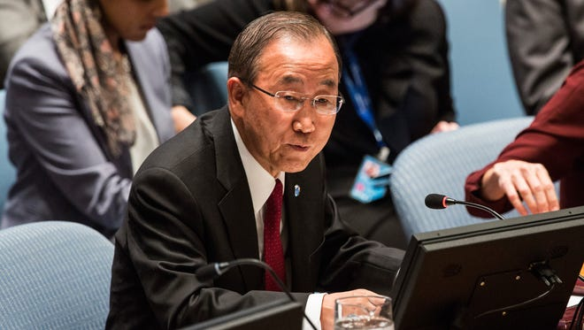 United Nations Secretary General Ban Ki-Moon speaks at a United Nations Security Council meeting on the ebola outbreak in West Africa, on Sept. 18, 2014 .