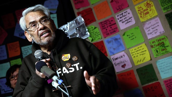 Eliseo Medina, who is fasting in support of immigration reform with the Fast for Families movement, speaks during a press conference on Tuesday.