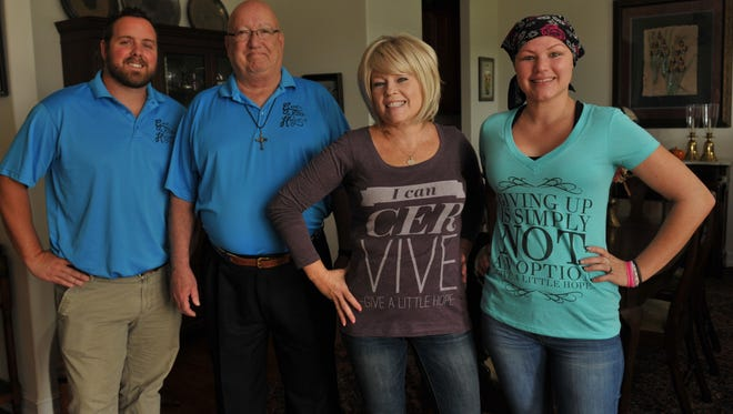 Give a Little Hope is a Brevard group founded by Randy Wouters that  is dedicated to helping cancer victims and  their families find hope. Photo shows: Randy Wouters, president, Joe Libasci, treasurer, and cancer patients Sally Derrick, 53, and DeAnna Chase, 29.