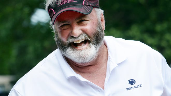 Scott Fitzkee jokes with players at the 29th annual Eddie Khayat–George Tarasovic Celebrity Golf Classic at Out Door Country Club Monday, June 19, 2017. The annual tournament has raised nearly 700,000 for York County Special Olympics. Bill Kalina photo