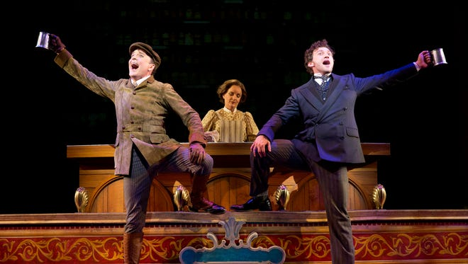 "Jefferson Mays as Henry D'Ysquith, Jennifer Smith, and Bryce Pinkham as Monty Navarro in a scene from ""A Gentleman's Guide to Love and Murder."" The play won best musical at the 68th annual Tony Awards on Sunday, June 8, 2014, in New York."