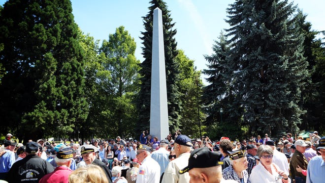 Hundreds of veterans and their supporters gather June 6 for the dedication of the Oregon World War II Memorial on the grounds of the State Capitol.