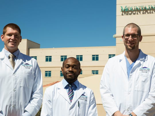 Eric Czer, left, Ugonna Ezeh, center, and Matthew Justus, right, all medical residents at MountainView Regional Medical Center. Tuesday, March 14, 2017