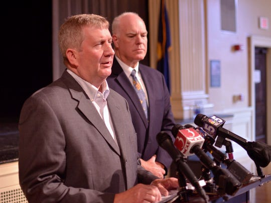 Rep. Kurt Wright, R-Burlington, left, and Sen. Joe Benning, R-Caledonia, are seeking to eliminate Vermont teachers strikes and prevent school boards from imposing working conditions. They held a news conference Monday, Sept. 18, in the midst of the Burlington teachers strike.