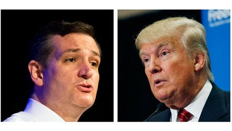 FILE - This two picture combo of file photos shows Republican presidential candidates, Sen. Ted Cruz, R-Texas, left, and Donald Trump.  The two men are in a so-far cordial competition for many of the same anti-establishment conservatives, and they're about to share a stage.  On Wednesday, at Cruz's invitation, Trump is to appear with him at a Capitol Hill rally protesting the proposed nuclear agreement with Iran.  (AP Photo/File)