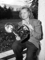 Betty Love with her camera in 1947. She became the Springfield Newspapers Inc. photographer in 1945 after years as an editorial cartoonist with the paper.