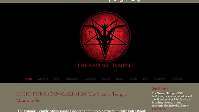 A screenshot of the Satanic Temple's website.