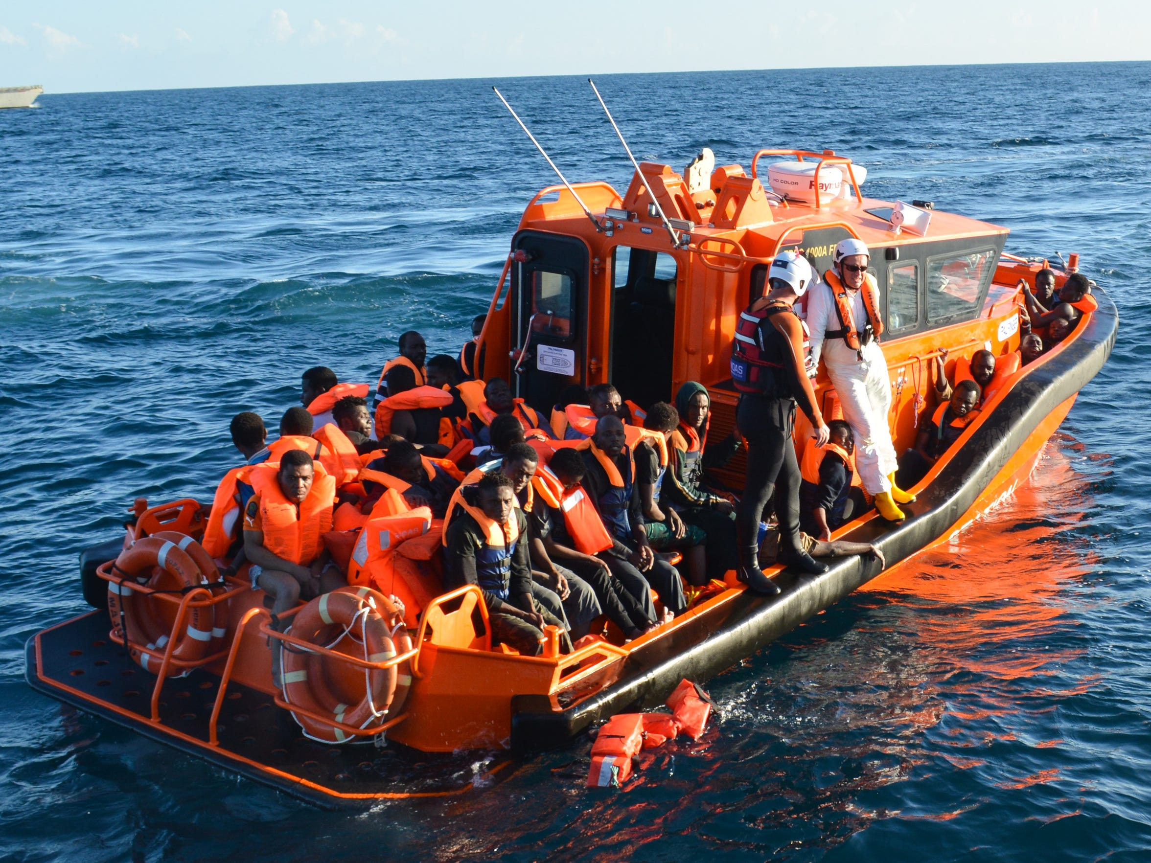 Refugees on a vessel operated by the Migrant Offshore