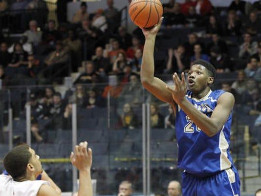 2014 Webster Schroeder boys basketball Emmitt Holt vs. Greece Athena - Class AA semfinals