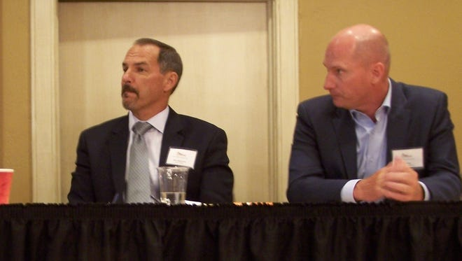 Pictured are Joe Diglio of MMPA (left), Pete Kappelman of Land O'Lakes (center), and Joe Koss of Culver's (right).