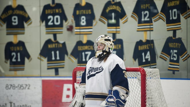 Essex goalie Vika Simons during the girls hockey game between Spaulding and Essex at the Essex Skating Facility on Wednesday night February 10, 2016 in Essex.