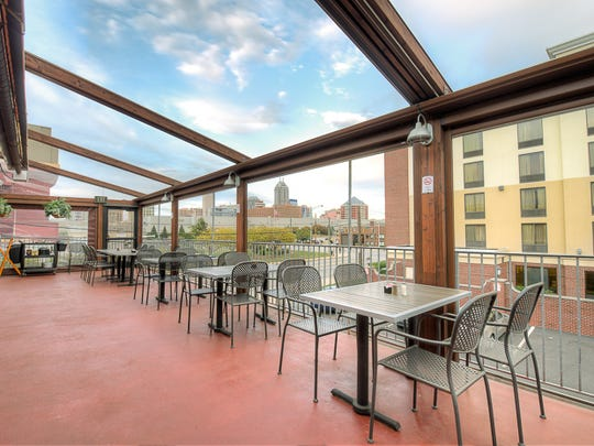 Tavern on South has an upper level deck with views of the city.