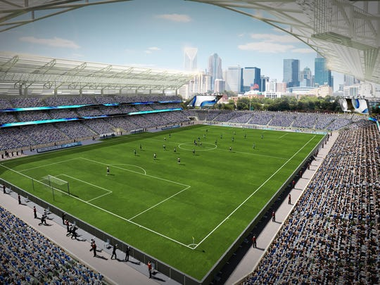Rendering of proposed soccer-specific stadium in Charlotte.