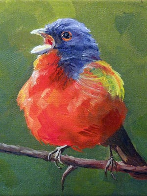 """""""Painted Bunting"""" by Faith Frykman, part of the """"Right Off the Wall"""" exhibit through Jan. 9 at Meadows Art Gallery in Sister Bay."""