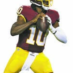 LANDOVER, MD - AUGUST 20: Quarterback Robert Griffin III #10 of the Washington Redskins walks off the field during a preseason game against the Detroit Lions at FedEx Field on August 20, 2015 in Landover, Maryland. (Photo by Matt Hazlett/Getty Images)
