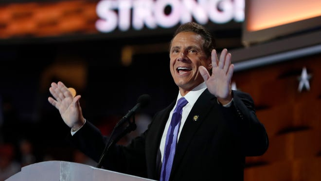 Gov. Andrew Cuomo speaks during the final day of the Democratic National Convention in Philadelphia, Thursday.