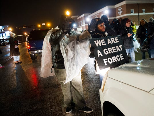 Ferguson protesters Friday night