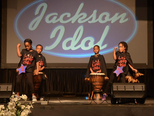 Jada Trull, Anthony Coman, Jacquan Newsom and London Fasson perform for the age 6-8 divison Thursday during the ninth annual Jackson Idol competition.