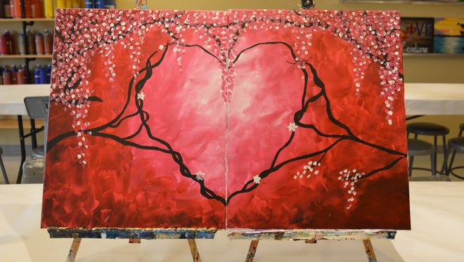 Double panel heart painting offered at Painting with a Twist