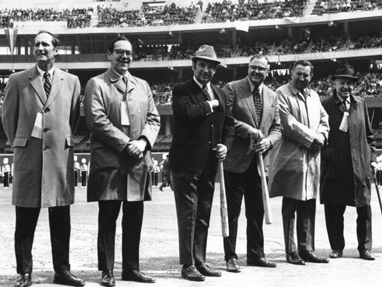 Then-U.S. Rep William Keating, U.S. Sen. Robert A. Taft Jr. Reds' president Francis L. Dale, Reds general manager Bob Howsam, National League president Chub Feeney and councilman Charles P. Taft at Opening Day on April 6, 1971.