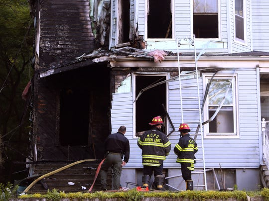 A two-family home on Chestnut Street in Morristown was destroyed early Friday morning, the occupants got out safely but six pets were feared to have perished in the fire. June 10, 2016, Morristown, NJ