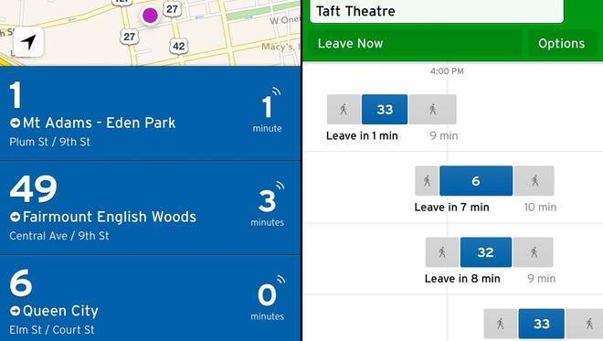 Screenshots from Transit App.