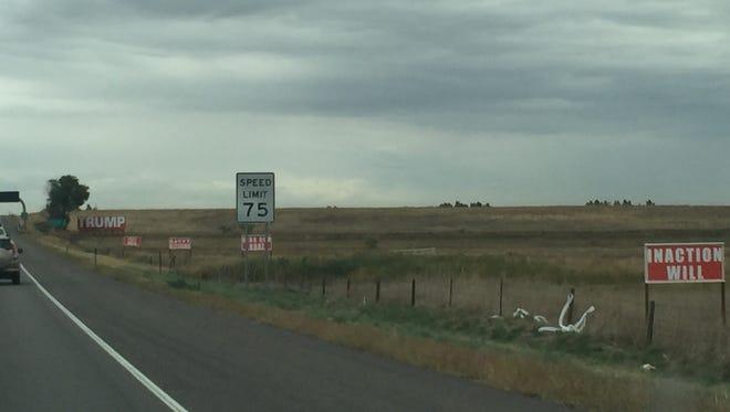 Trump billboards along Interstate 25 north of the Colorado Highway 392 exit.