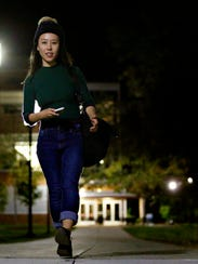 Penn State York student Michelle Lin on campus following