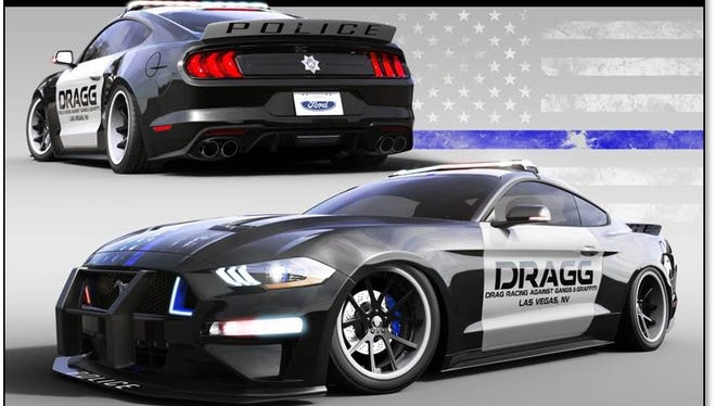 A rendering of a 2018 Ford Mustang modified by local high school seniors in a program created by the Oxnard Police Department. The car will be unveiled Tuesday in Las Vegas at the SEMA automotive trade show.