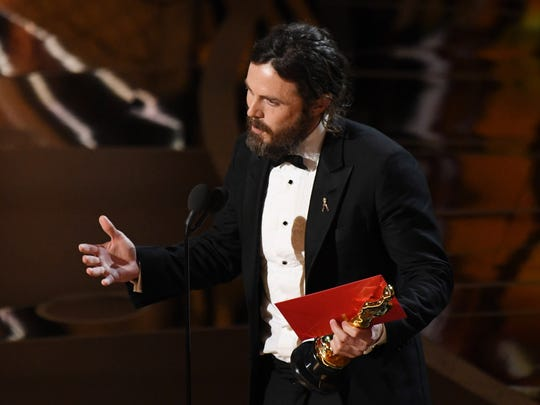 Casey Affleck  accepts the Oscar for Best Actor for his role in 'Manchester by the Sea.'