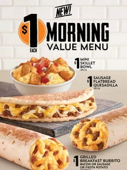 Taco Bell's new $1 breakfast menu.