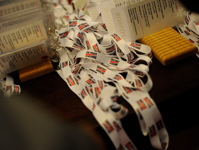 Lanyards for name tags for attendees of Detroit Homecoming,an outreach to former Detroit-area residents,openingdinner on Wednesday, Sept. 17, 2014.