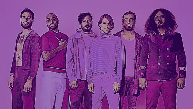 "The members of Foxy Shazam — Aaron McVeigh, left, Sky White, Loren Turner, Eric Nally, Alex Nauth and Daisy Caplan — are offering free downloads of their new album, ""Gonzo."""