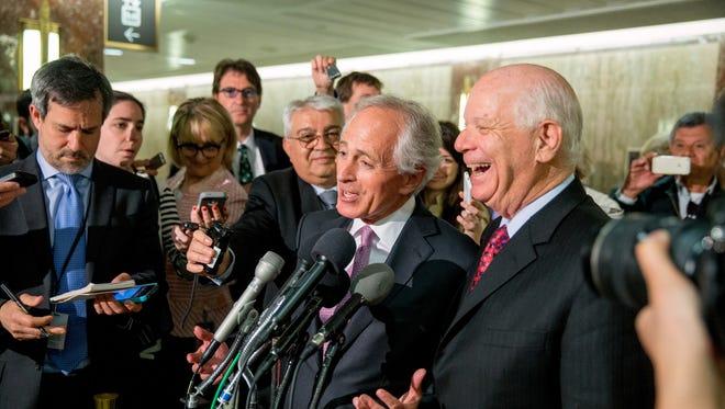 Senate Foreign Relations Committee Chairman Sen. Bob Corker, R-Tenn., left, and the committee's top Democrat Sen. Ben Cardin, D-Md.