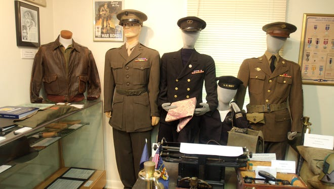 A display of uniforms and artifacts from World War II are on display at the Veterans Museum at Lasdon Park in Somers Sept. 2, 2012. The museum in run by the Westchester County Chapter of the Vietnam Veterans of America.
