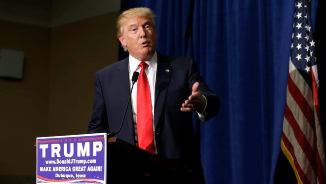 Donald Trump speaks during a news conference on Aug. 25, 2015, in Dubuque, Iowa.