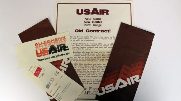 This photo provided by Harrisburg (Pa.) International Airport shows a ticket cover and letter from US Air on its first day of flying under that new name in 1979.