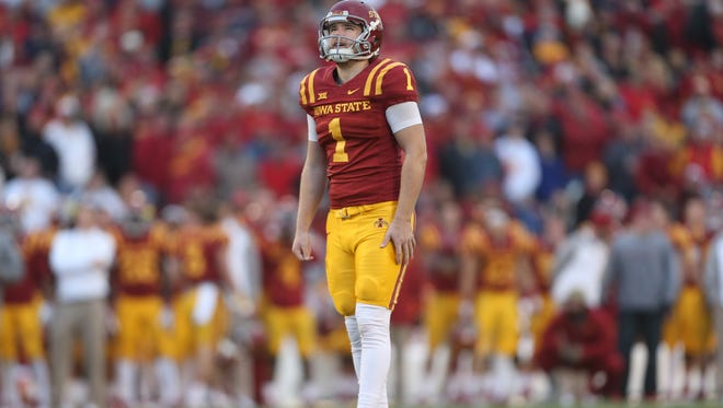 Iowa State place kicker Cole Netten lines up his field goal attempt during an NCAA college football game against Texas Tech on Saturday, Nov. 22, 2014, in Ames, Iowa.